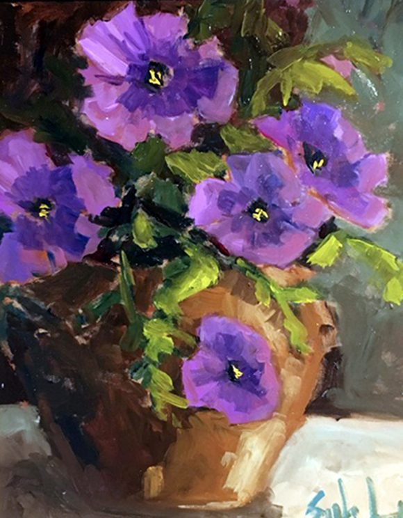 Les pétunias violets