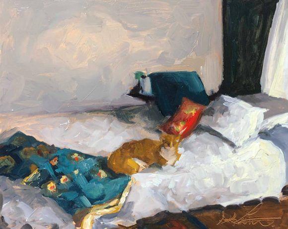 Sans titre (Chat sur le lit)